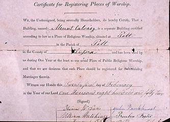 Registration Certificate dated 21st February 1852, authorising the building for the Solemnization of Marriages